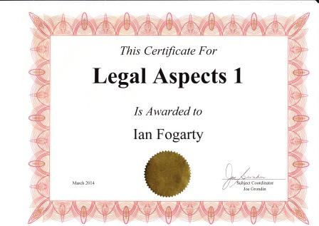 Legal Aspects 1 certificate
